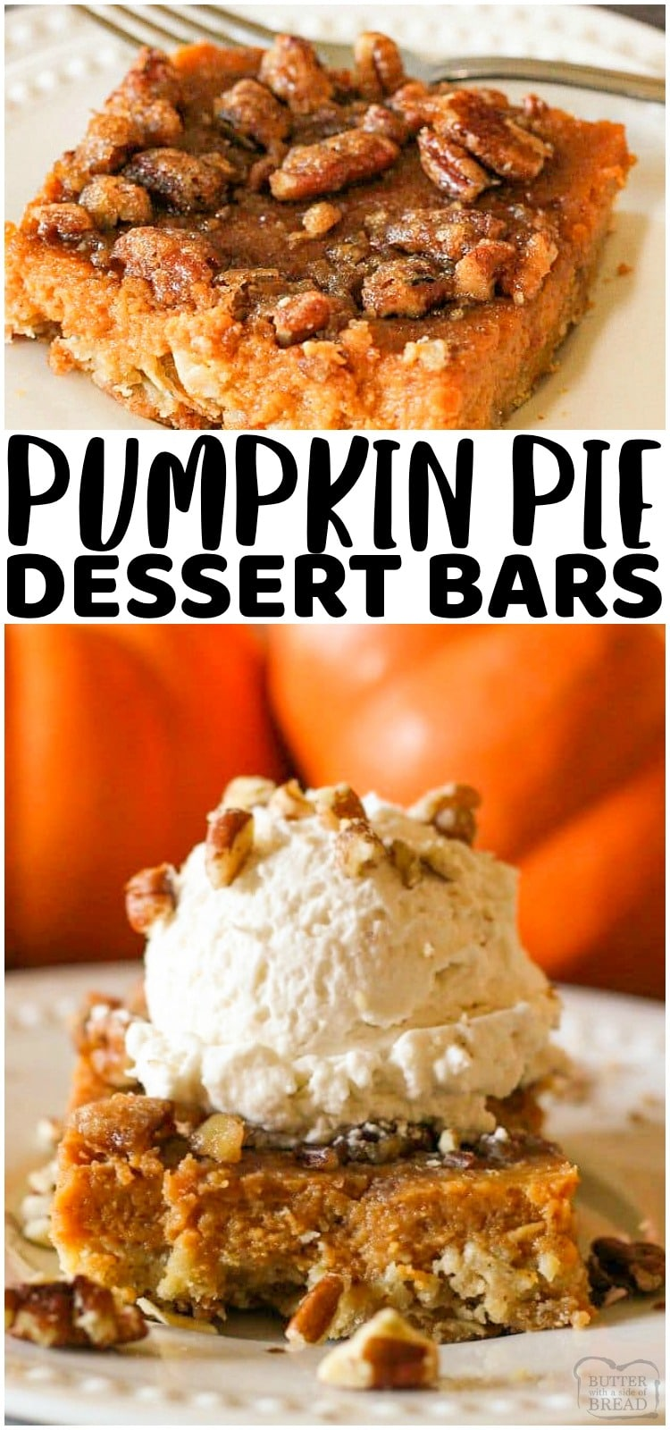 Pumpkin Pie Bars have a simple oat, butter crust with a traditional pumpkin pie filling topped with crunchy, sweet pecans. This bar version of the best pumpkin pie recipe is the perfect Thanksgiving Dessert for feeding a crowd and so much easier than making a pie!