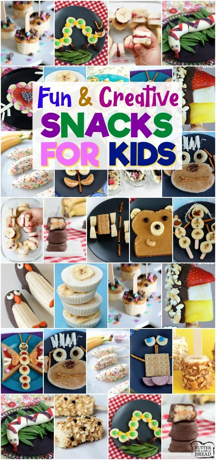 Snacks with Bananas are fun & healthy snacks perfect for even the pickiest of kids! These banana snacks are perfect for breakfast, lunch, snacks and treats! #bananas #snack #kidsnacks #snacks #fruit #lunch from BUTTER WITH A SIDE OF BREAD