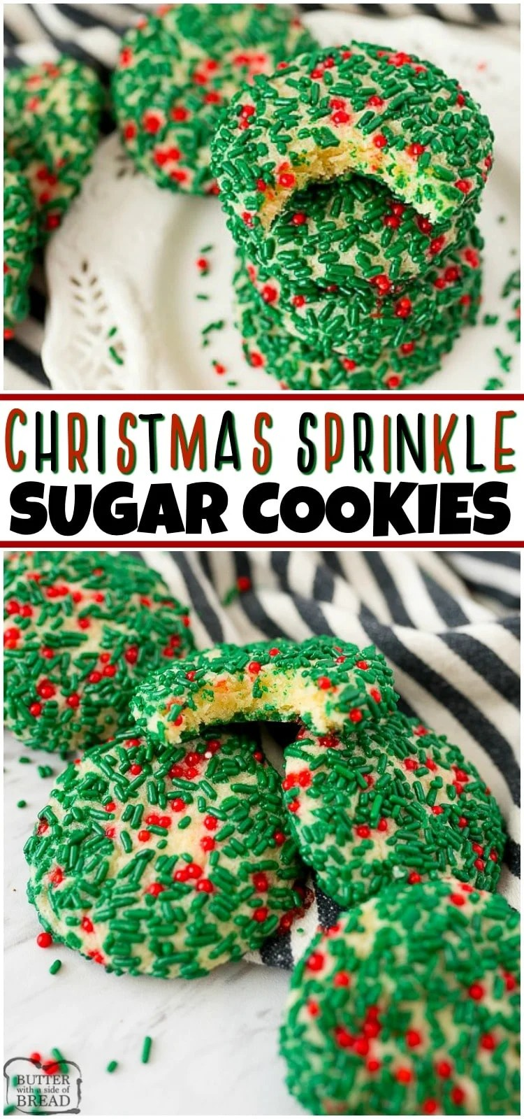 Christmas Sprinkle Cookies are a soft and chewy vanilla sugar cookie covered with red and green sprinkles. Just like the sprinkle cookies made at a bakery, these Christmas Cookies are deliciously festive!