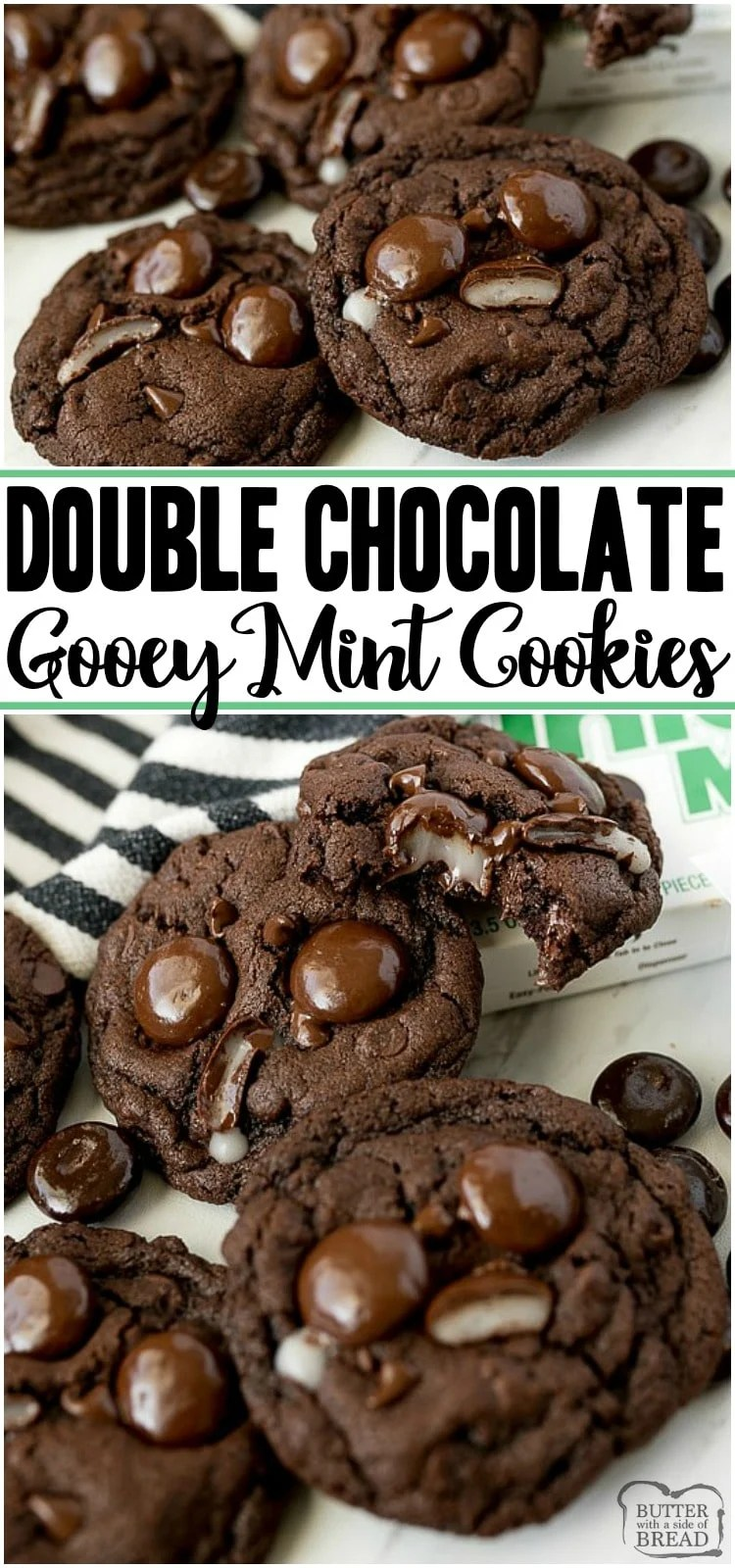 Double Chocolate Mint Cookies are a rich, chewy chocolate cookie topped with Junior Mints! Perfect fudge cookie recipe for mint chocolate lovers.  #cookies #mint #chocolate #baking #dessert #chocolatecookies #cookierecipe from BUTTER WITH A SIDE OF BREAD