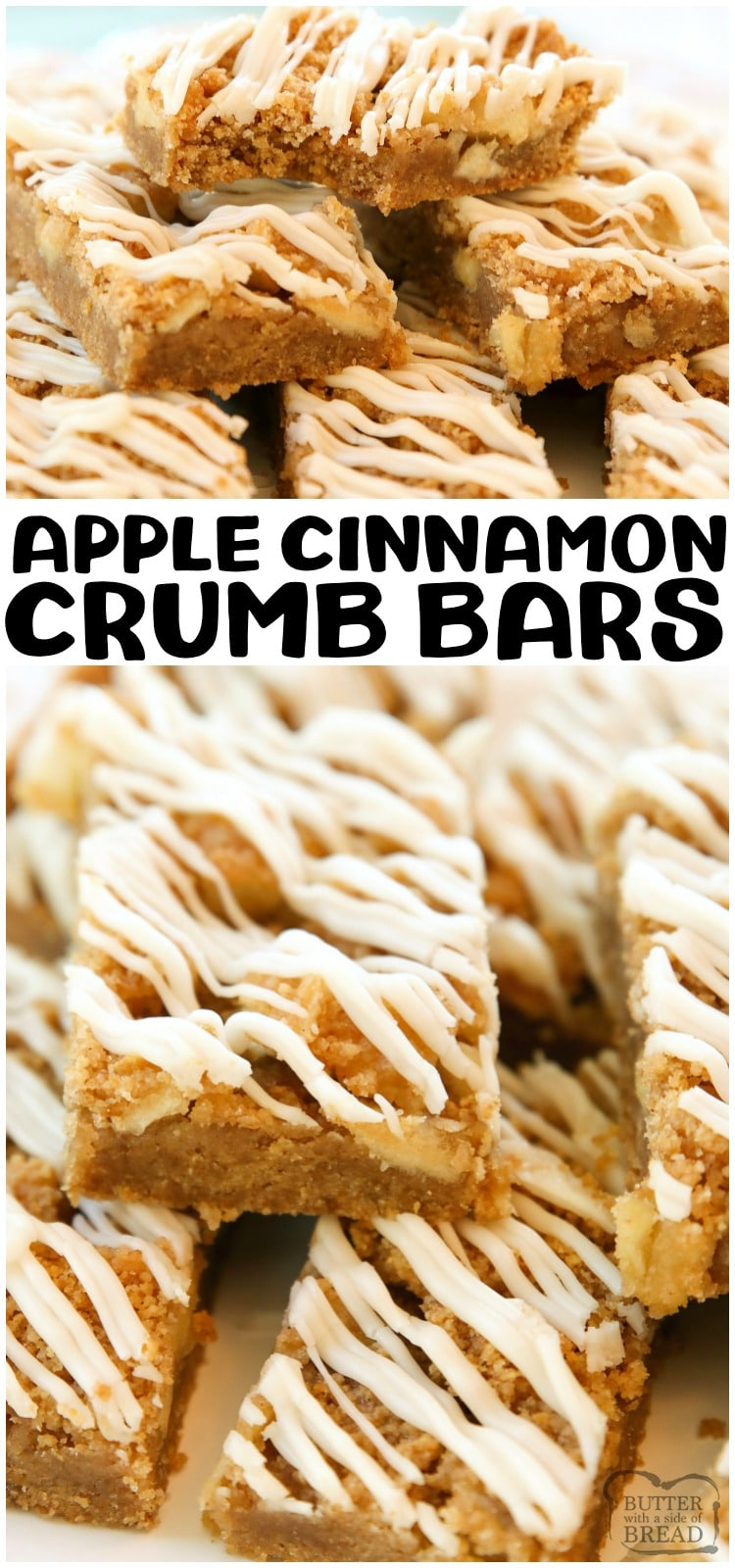 Apple Cinnamon Crumb Bars made with fresh apple, brown sugar, graham crackers & cinnamon! Simple baked apple bars recipe topped with a vanilla glaze.