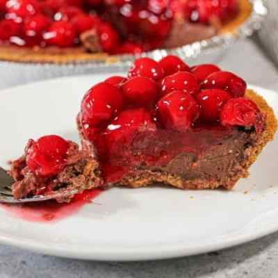 CHERRY CHOCOLATE CREAM CHEESE PIE