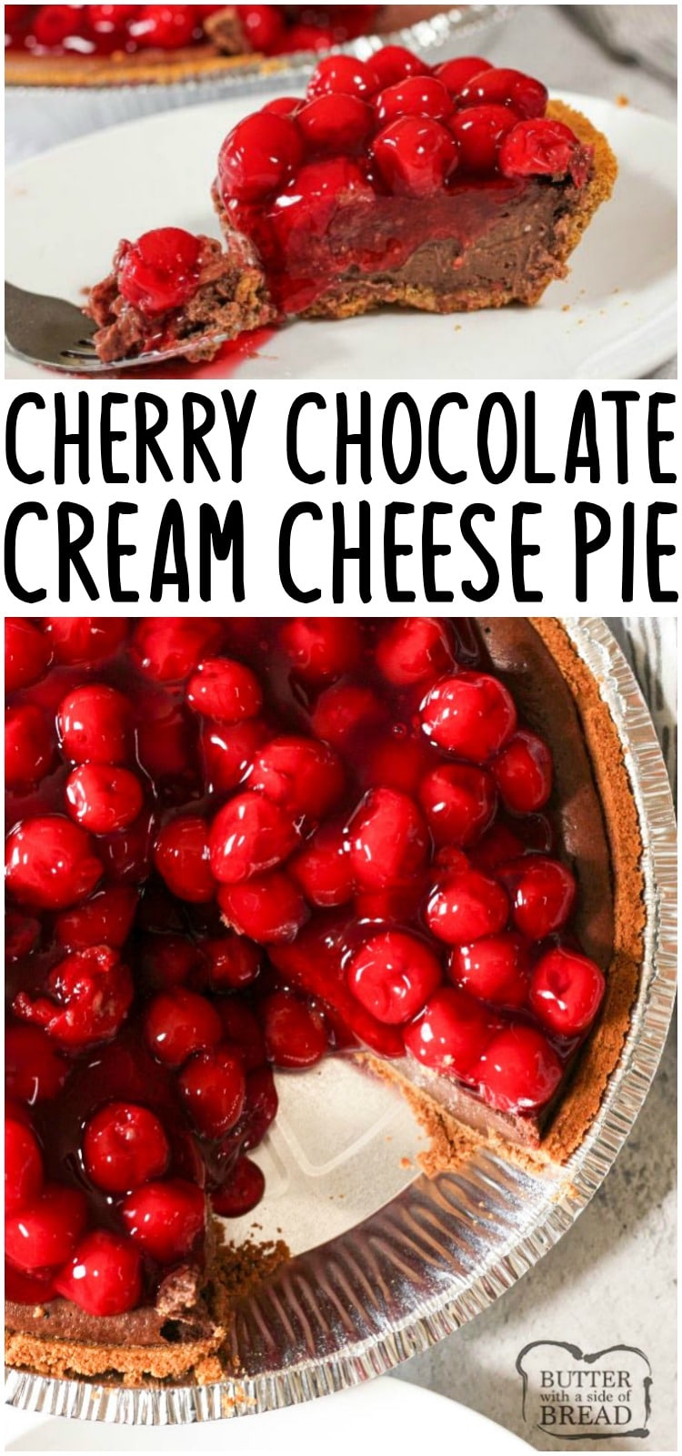 Chocolate Cream Cheese Pie is a simple pie made with cream cheese, cocoa, eggs, cream, vanilla and sugar all baked in a delicious graham cracker crust. This simple cream cheese pie recipe is rich and creamy like a perfect slice of cheesecake.