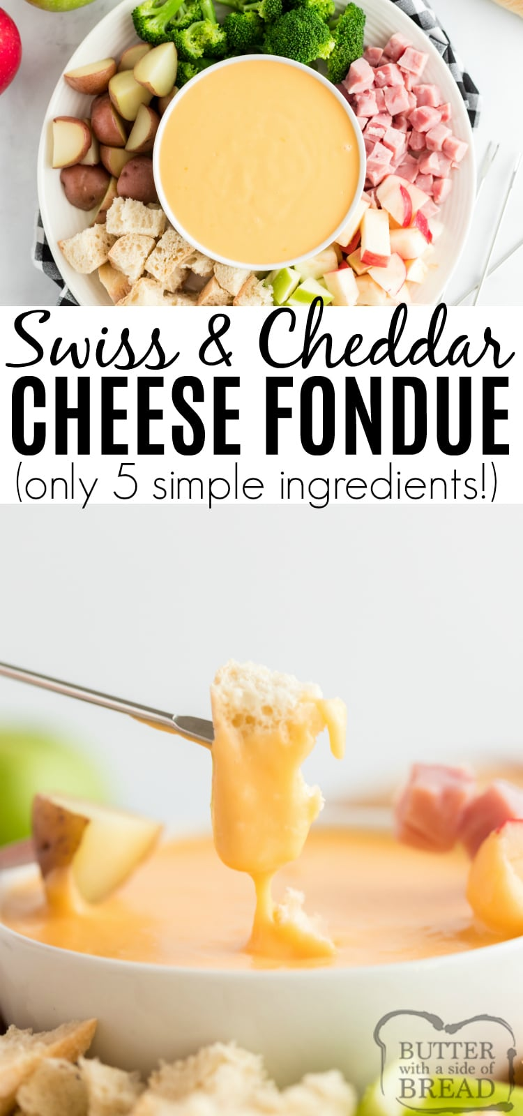 Swiss & Cheddar Cheese fondue is an easy appetizer recipe that is perfect for holiday dinners, parties and family gatherings! This delicious fondue recipe comes together in just a few minutes with a few simple ingredients - it is so easy to make and everyone loves it!
