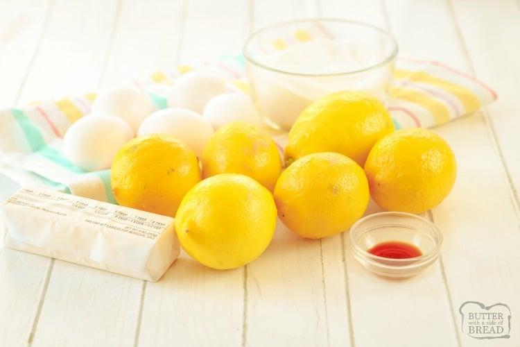 ingredients for homemade lemon curd