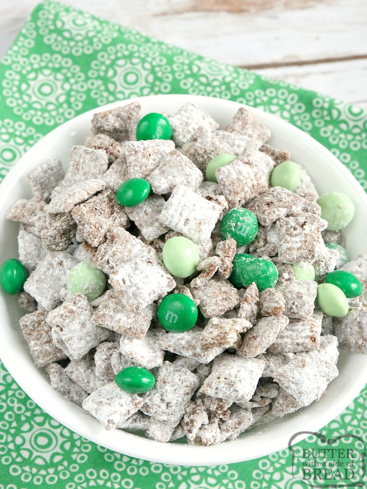 Mint Muddy Buddies are made in just a few minutes with only 5 ingredients! The chocolate mint coating is made by melting Andes mints - so easy and delicious!