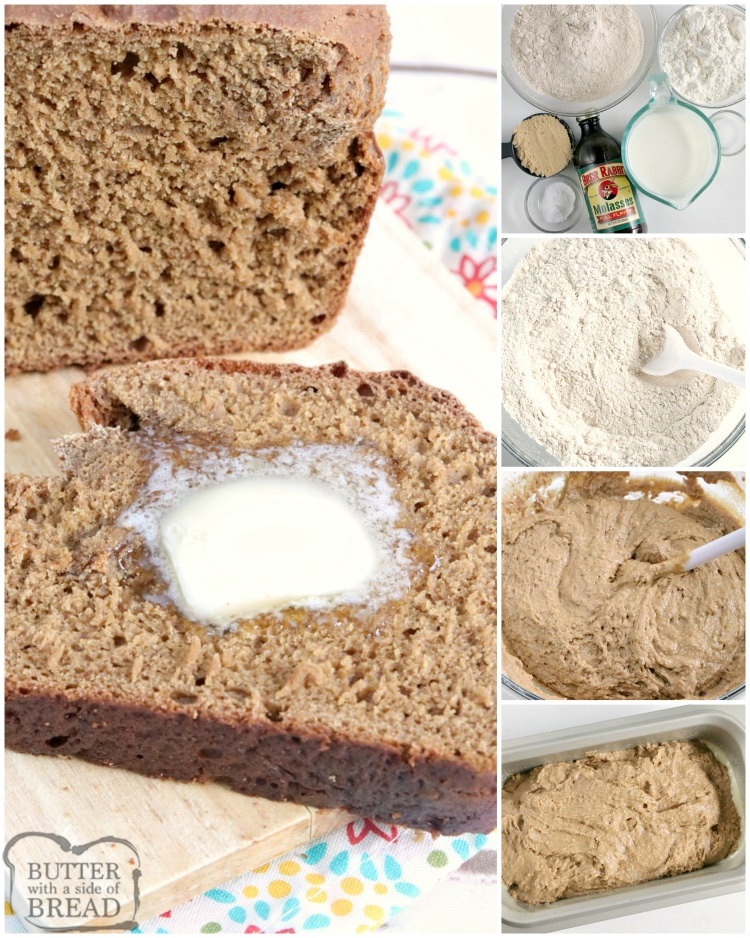 Step by step instructions on how to make wheat bread with no eggs or yeast