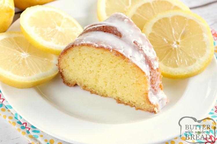 Slice of easy lemon cake recipe