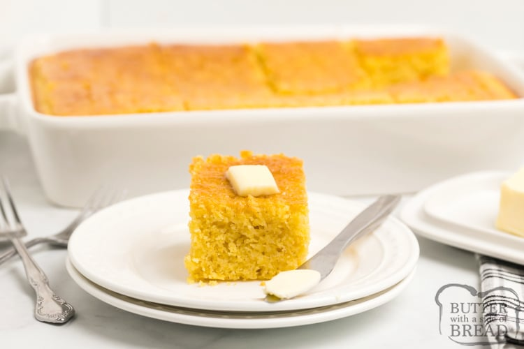 Slice of homemade cornbread