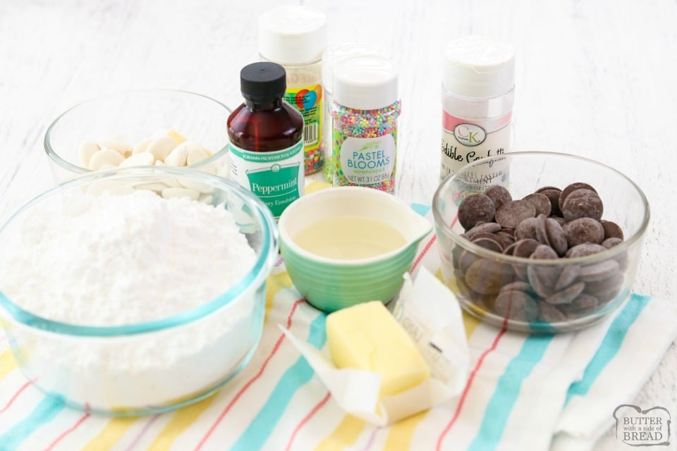 ingredients for mint chocolate Easter eggs candy