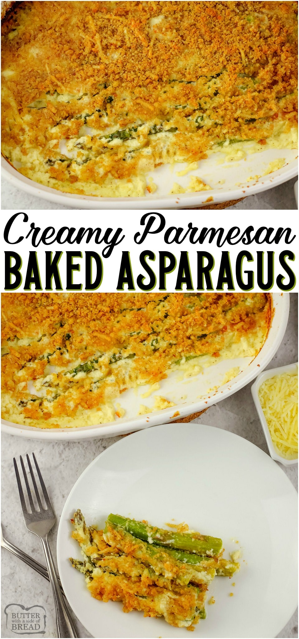 Creamy Baked Asparagus is a cheesy side dish made with fresh asparagus & parmesan cream sauce. Easy baked asparagus topped with bread crumbs and butter for a toasty crunch.