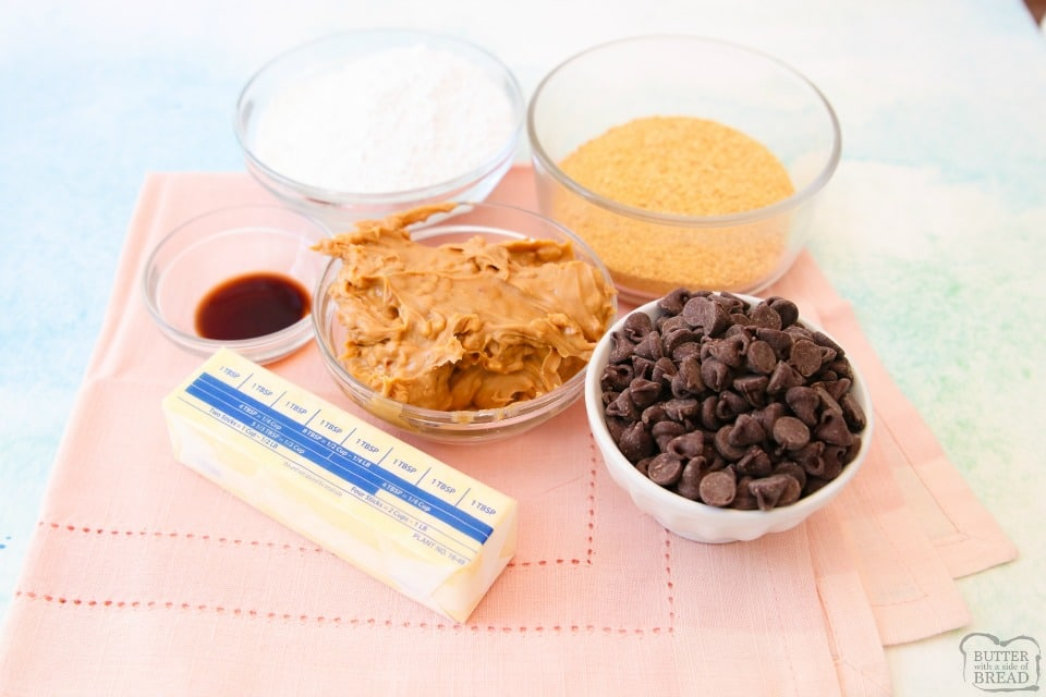 No Bake Chocolate Peanut Butter Bars ingredients