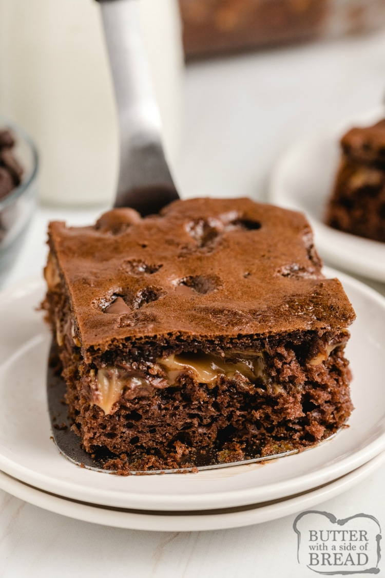 Snickers Cake made with a chocolate cake mix combined with caramel, peanuts and chocolate chips for a delicious cake recipe that tastes like a Snickers bar!