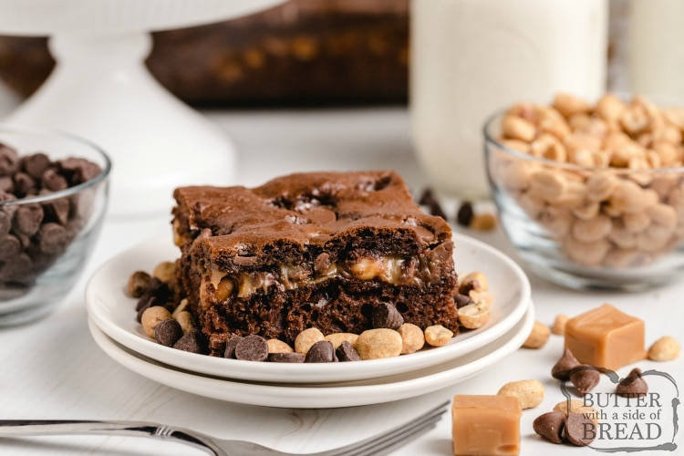 Chocolate cake with a caramel layer with peanuts and milk chocolate chips