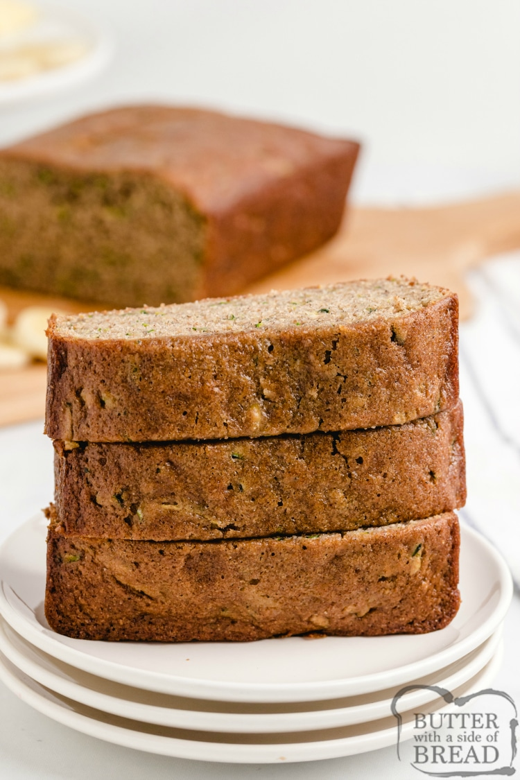 Slices of zucchini banana bread