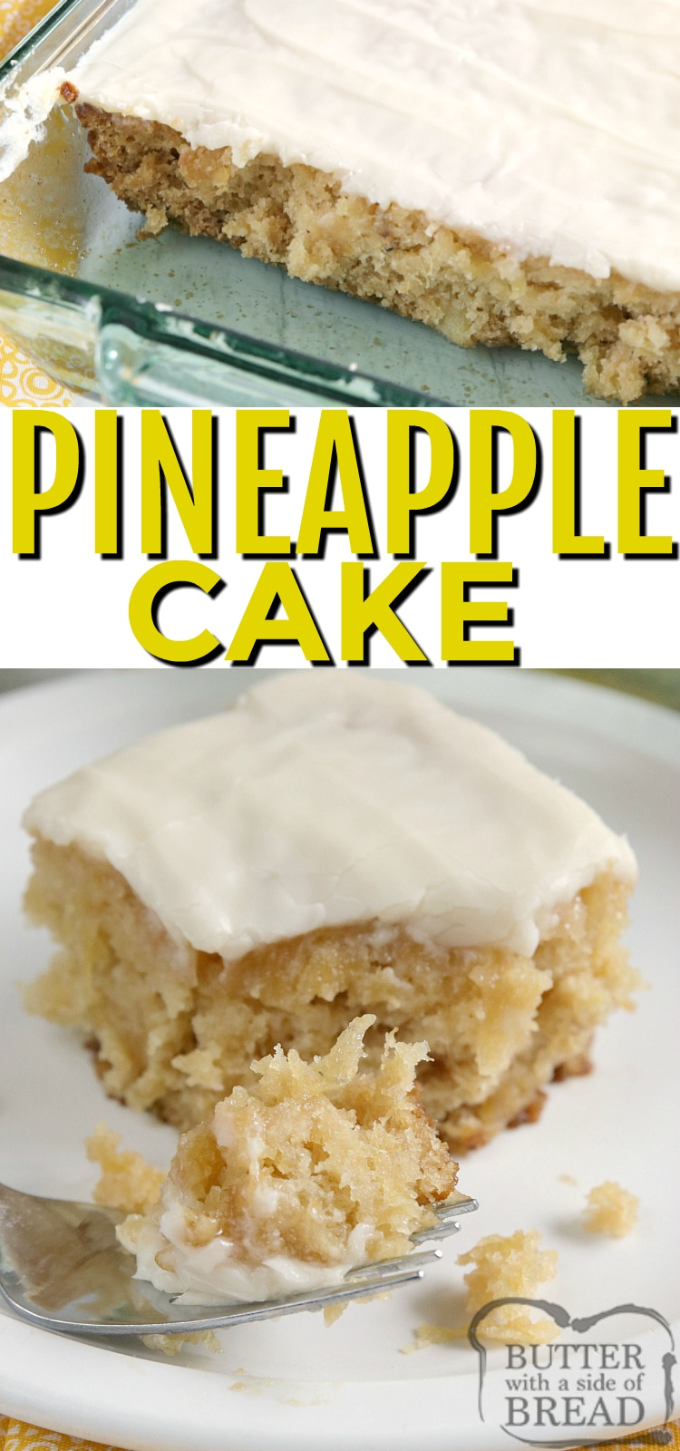 Easy Pineapple Cake made with crushed pineapple, then topped with a simple cream cheese frosting. This easy cake recipe is perfectly moist and full of flavor!