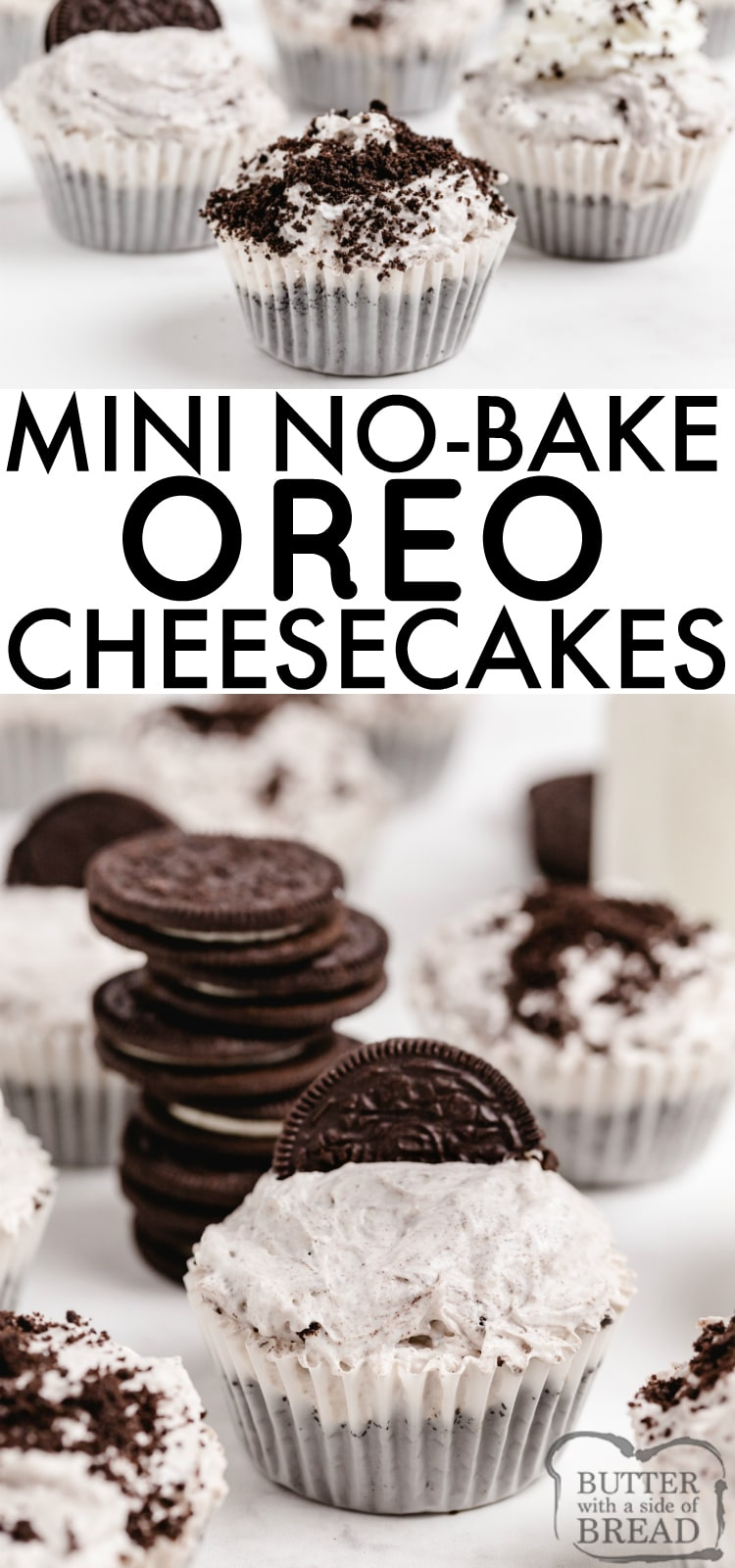 No Bake Mini Oreo Cheesecakes made with Oreos and Oreo pudding are delicious! This easy no bake cheesecake recipe made with only 6 ingredients is the perfect dessert recipe!