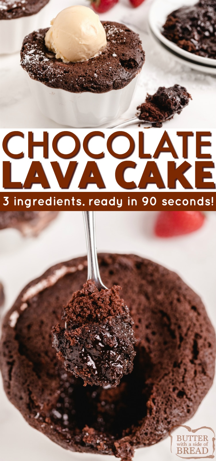 90 Second Chocolate Lava Cake made with 3 ingredients in less than 2 minutes. Fastest chocolate cake recipe ever with a molten lava fudge filling!