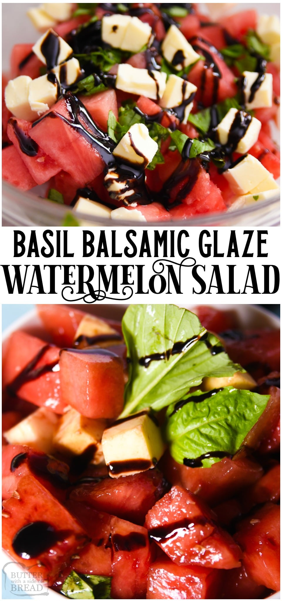 Watermelon Salad recipe with just 4 ingredients! Delightful mix of sweet and savory flavors in this watermelon salad with basil and balsamic vinegar! #watermelon #basil #balsamic #recipe #salad #easyrecipe from BUTTER WITH A SIDE OF BREAD