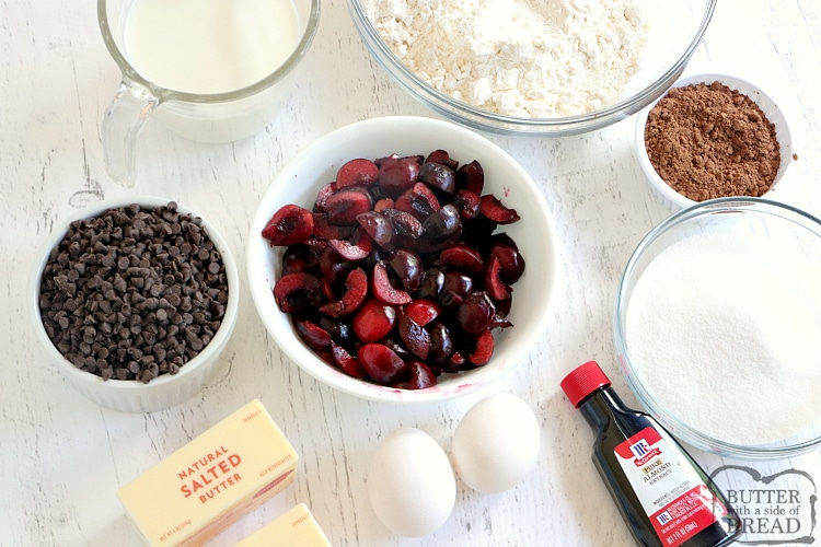 Ingredients in chocolate cherry quick bread