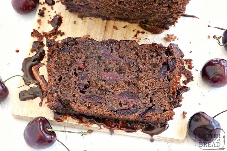 Slice of cherry chocolate quick bread