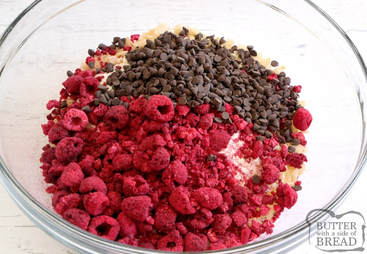 Mixing together ingredients for chocolate raspberry protein balls