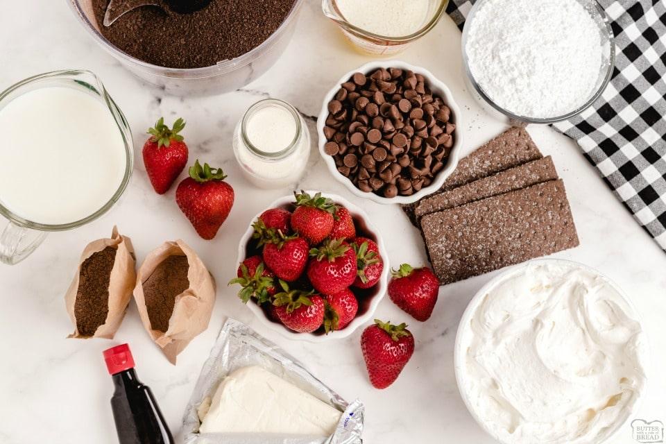 No-Bake Chocolate Strawberry Dessert Lasagna ingredients