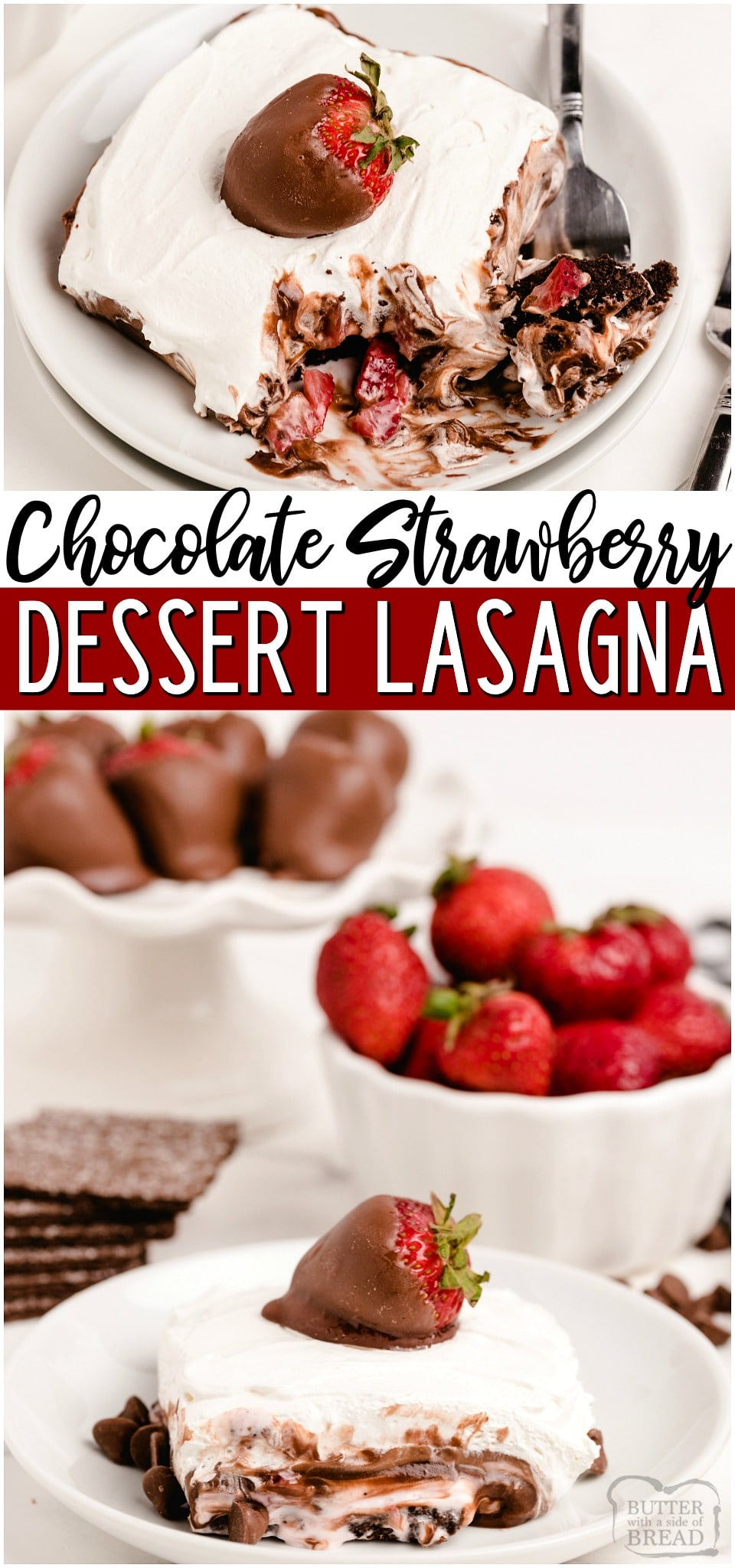 No bake Chocolate Lasagna with Strawberries is a layered pudding dessert filled with chocolate, sweet cream and fresh strawberries! Dessert Lasagna topped with chocolate covered strawberries is perfect for any occasion! #chocolate #strawberry #lasagna #layered #dessert #pudding #recipe from BUTTER WITH A SIDE OF BREAD