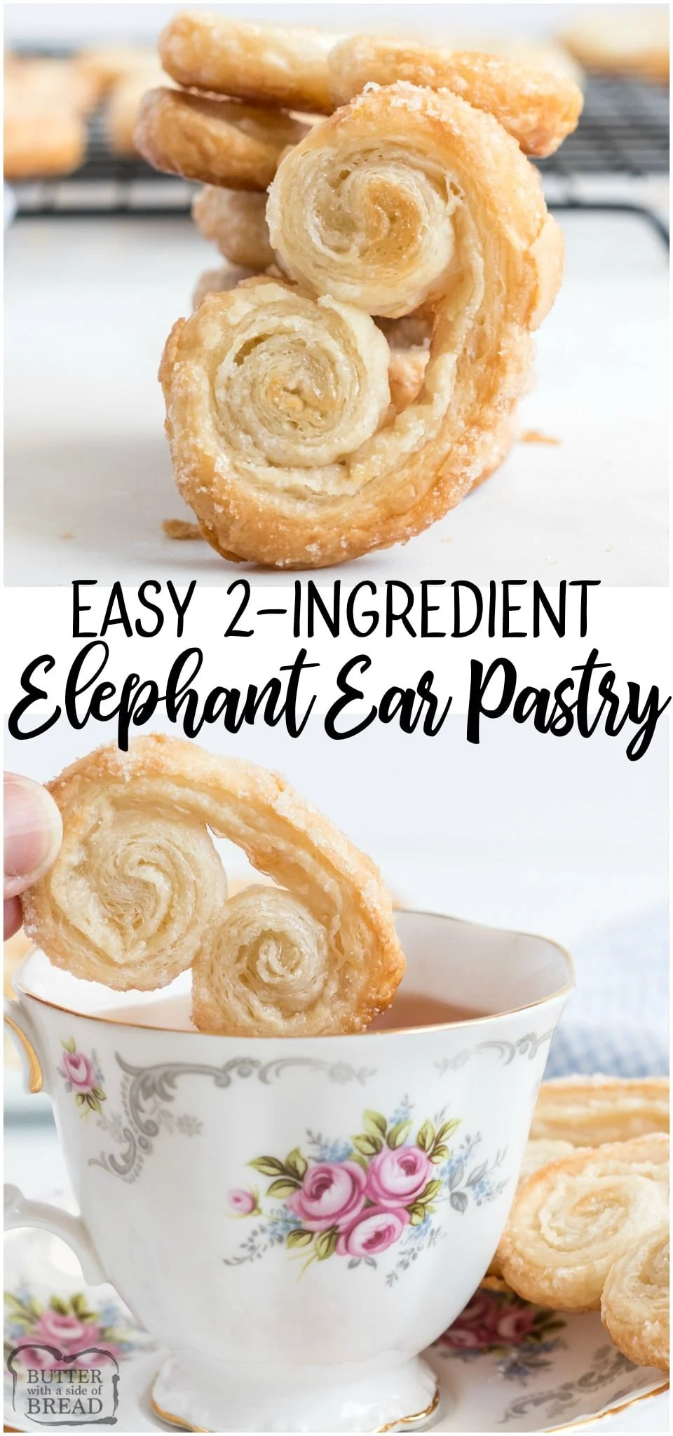 Elephant ears area delicious, buttery crisp sugar-covered french pastry that is also super simple to make! Just 2 INGREDIENTS and you can enjoy these Elephant Ear pastries at home!