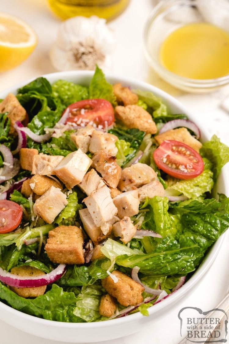 Caesar salad with a lemon caesar dressing