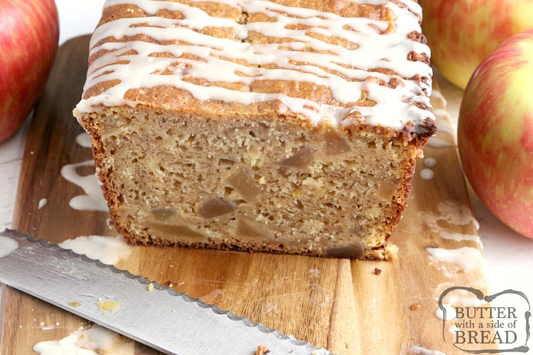 Apple pie quick bread sliced