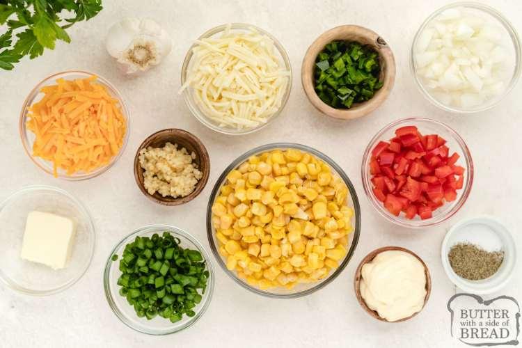 Ingredients in hot corn dip recipe