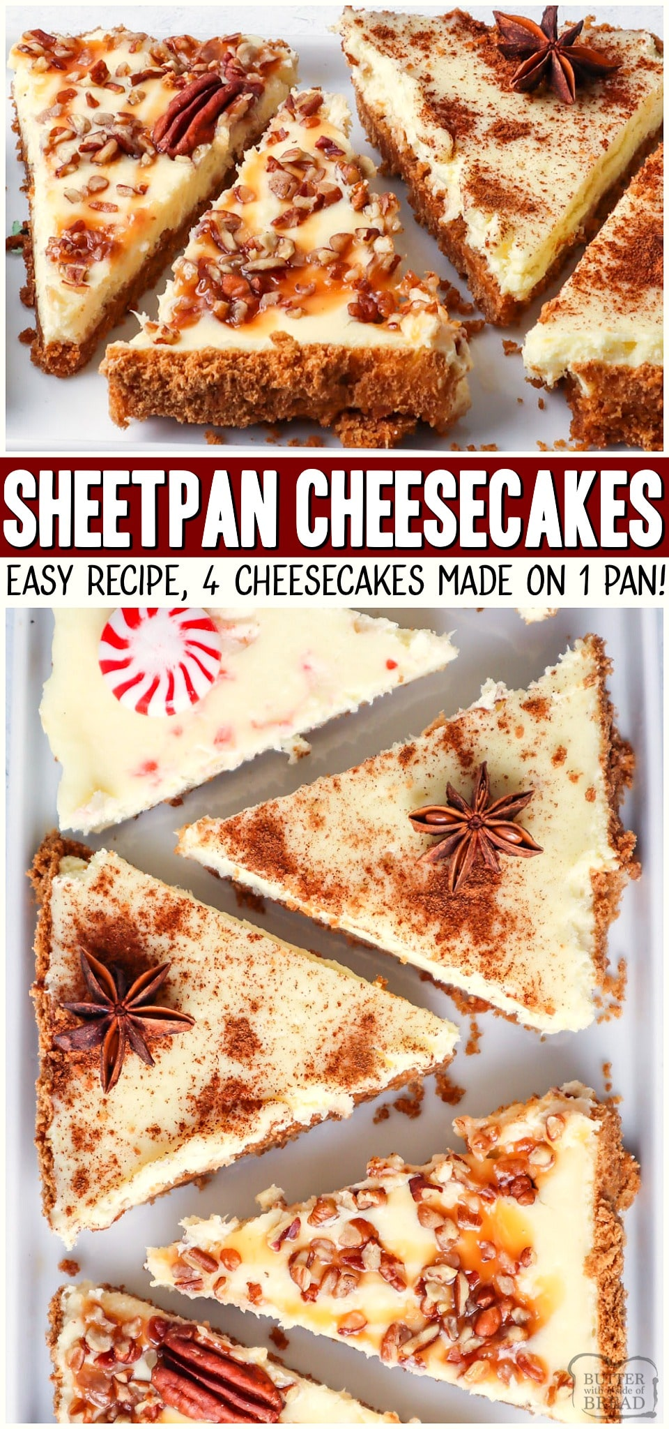 This easy sheet pan cheesecake recipe is one to remember. With just one simple graham cracker crust and a basic cheesecake batter we can create holiday cheesecake bars with 4 flavor options to choose from! 