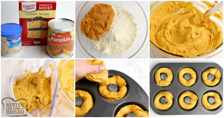 Step by step instructions on how to make easy baked pumpkin donuts