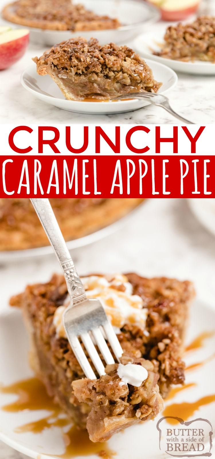 Crunchy Caramel Apple Pie made with a pre-made pie crust, filled with sliced apples and topped with a crunchy sweet streusel, pecans and caramel! Easy apple pie recipe topped with a buttery brown sugar and oat topping instead of a traditional pie crust.