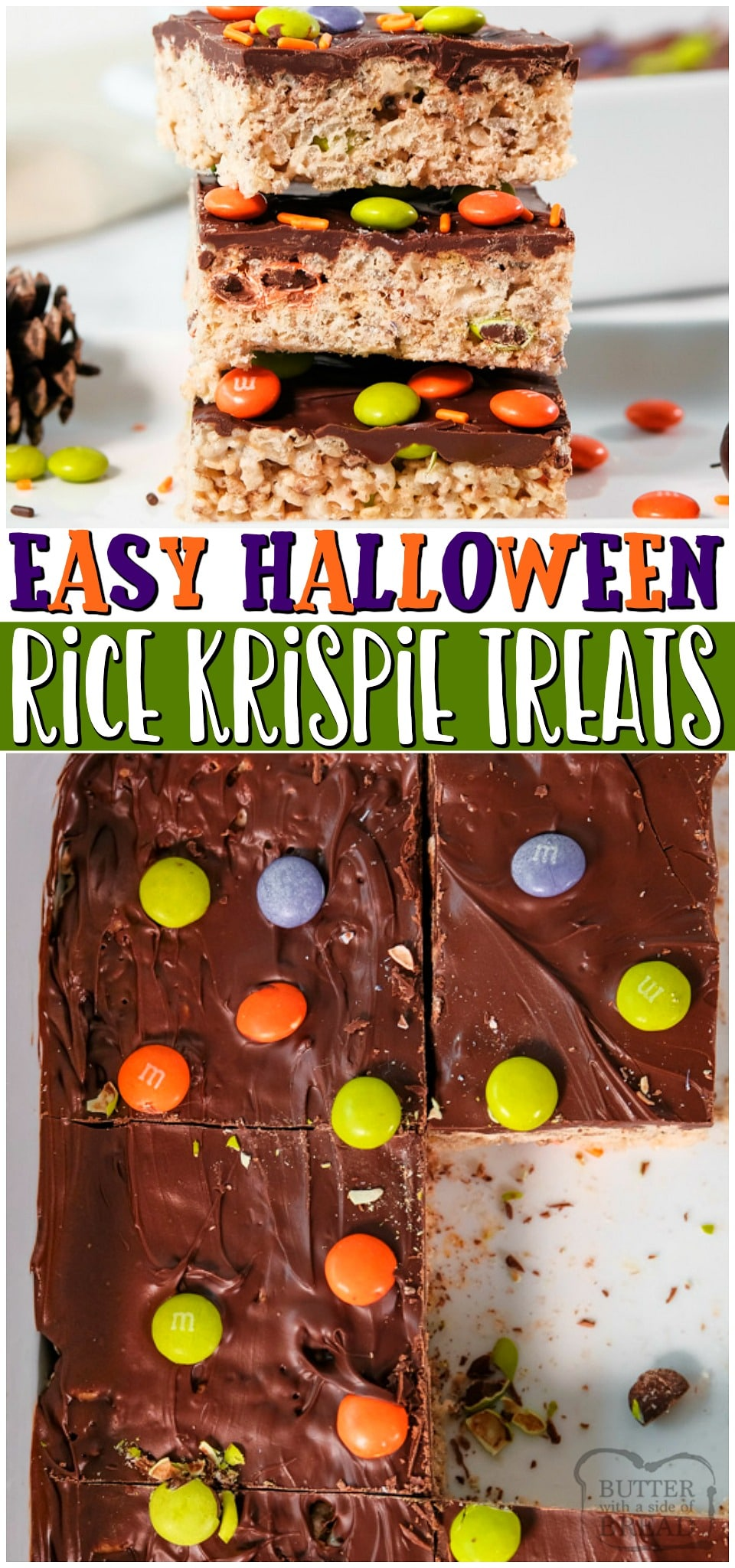 Halloween Rice Krispie Treats are the perfect Halloween dessert this fall! With sprinkles, chocolate, and marshmallow packed cereal bars in every bite, it's sure to be a spooky delight. #Halloween #KrispieTreats #Marshmallows #Dessert #EasyRecipe from BUTTER WITH A SIDE OF BREAD