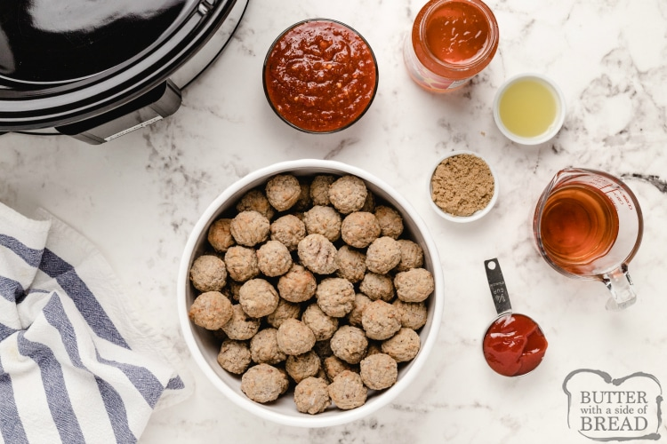 Ingredients in slow cooker meatball recipe