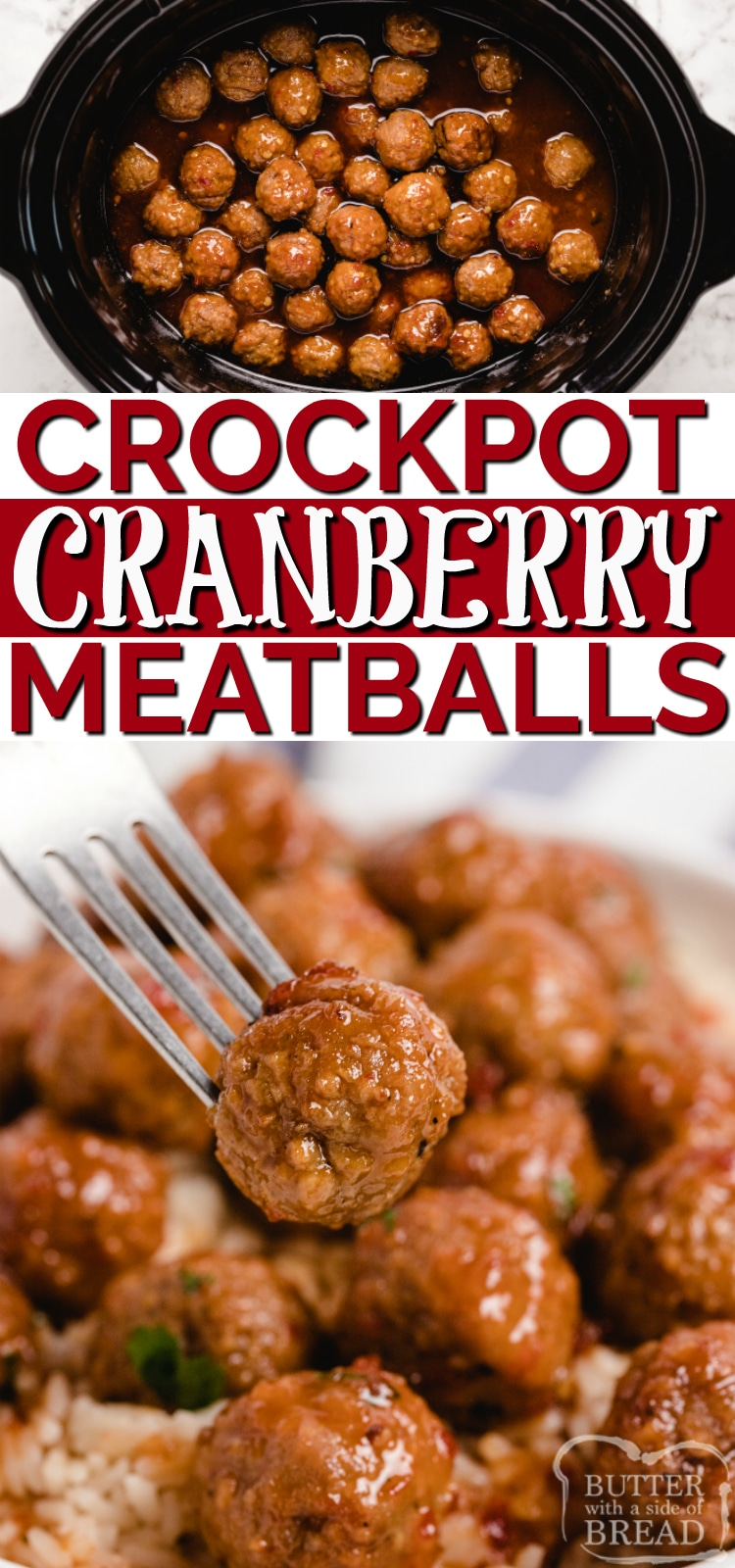Crockpot Cranberry Meatballs make the perfect appetizer or a simple dinner when served with rice. Only a few simple ingredients and less than 5 minutes of prep time for this delicious slow cooker meatball recipe!