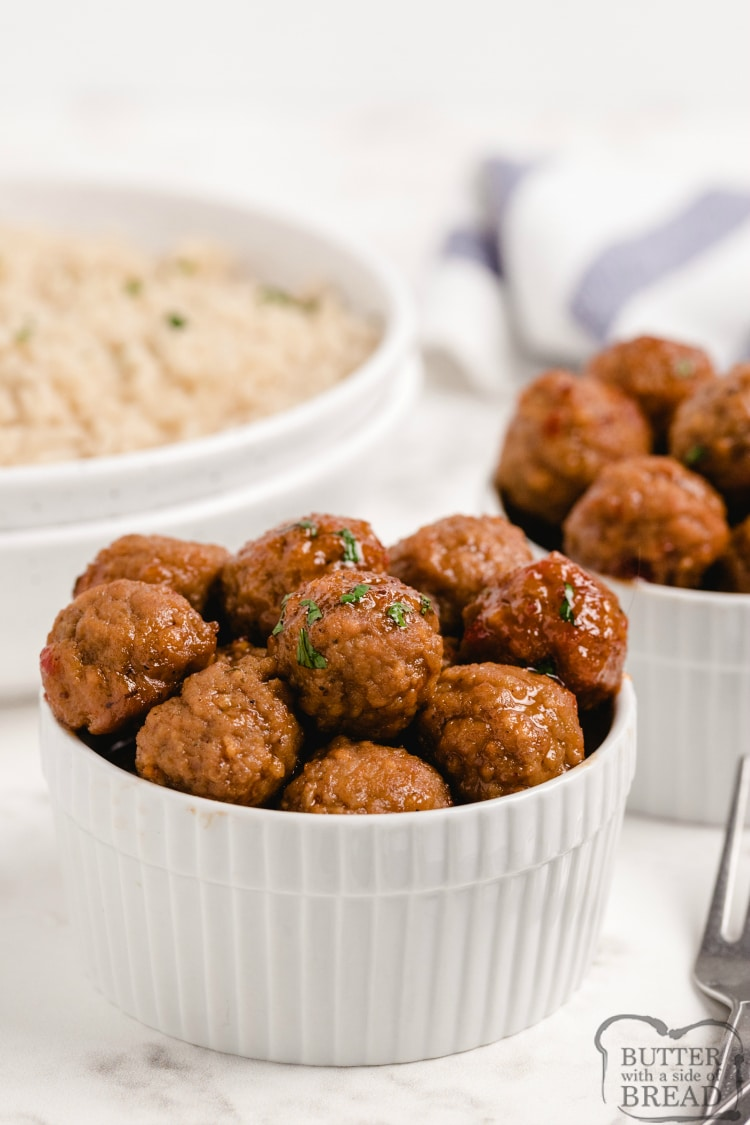 Easy cranberry meatball recipe made with frozen meatballs