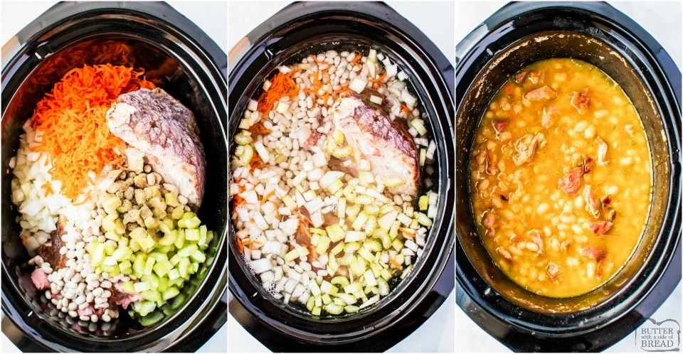 how to make Easy Crockpot Ham and Bean Soup recipe