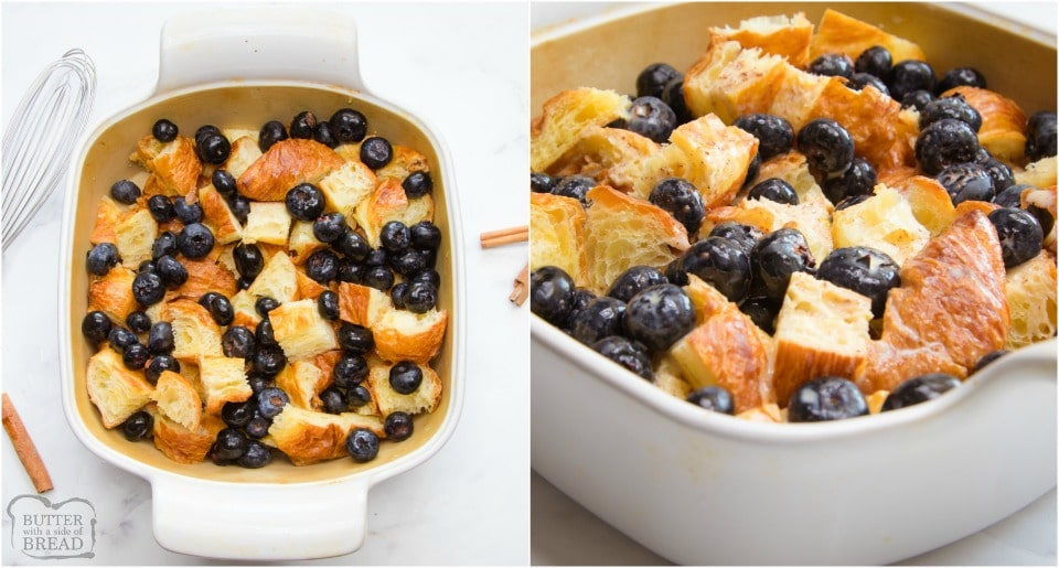 how to make Easy Blueberry Croissant French Toast Casserole recipe