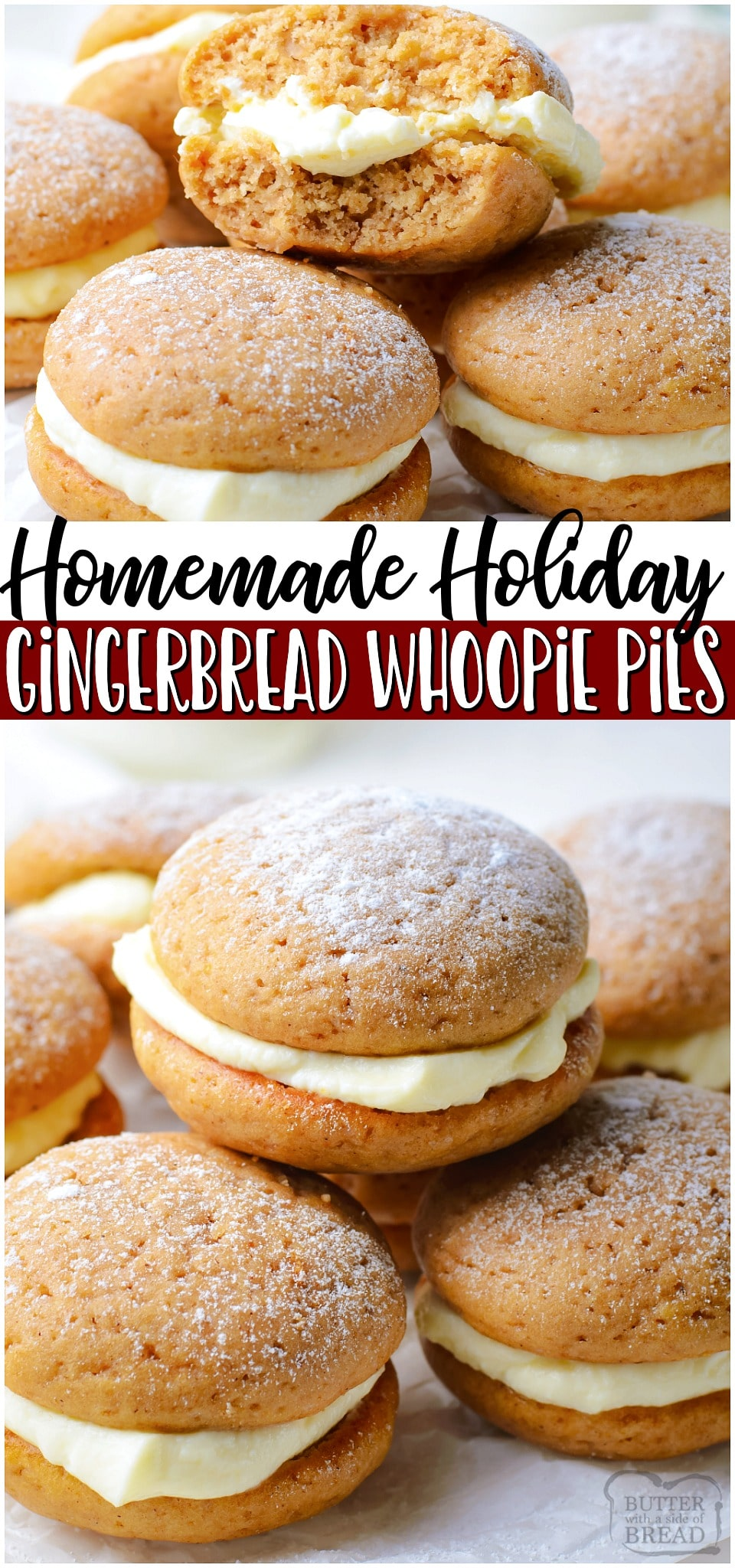Gingerbread whoopie pies are soft, spiced gingerbread cookies with a lovely cream cheese filling. Perfect gingerbread treat for the holidays!#gingerbread #whoopiepie #dessert #holiday #baking #easyrecipe