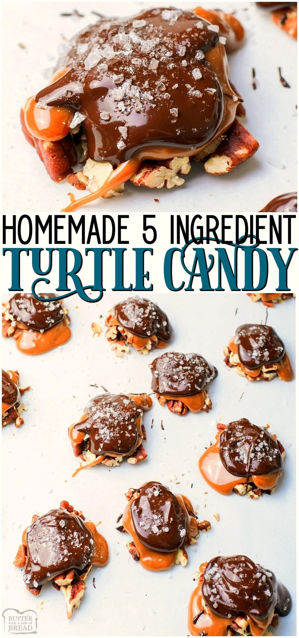 Homemade turtle candy recipe with just 5 ingredients & perfect for holiday dessert trays! With toasted pecans, melted chocolate, and gooey caramel in every bite, these easy to make candies are a perfect treat! #candy #turtle #caramel #nuts #chocolate #holidays #easyrecipe from BUTTER WITH A SIDE OF BREAD