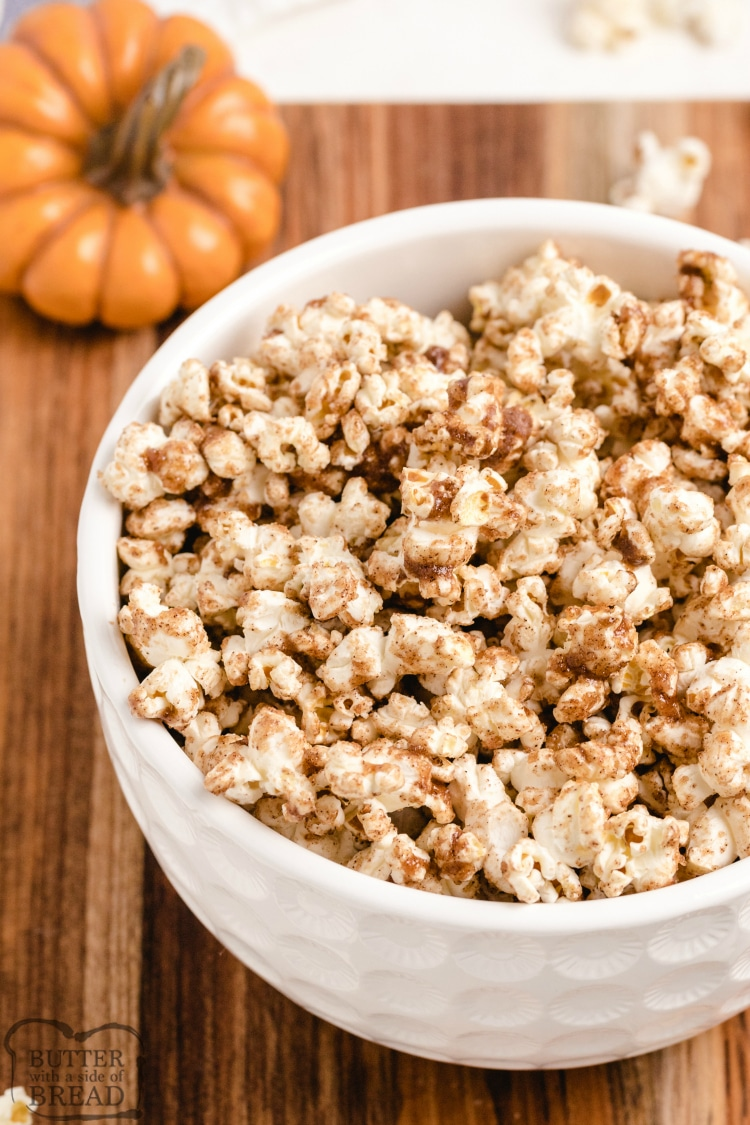 Popcorn with gooey spiced pumpkin topping