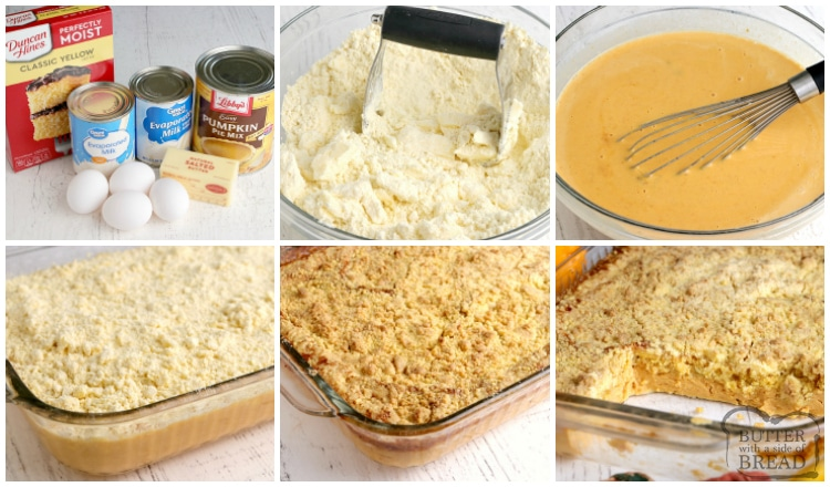 Step by step instructions on how to make pumpkin dump cake recipe