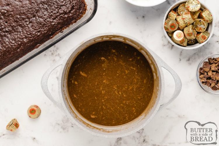 Homemade peanut butter caramel sauce
