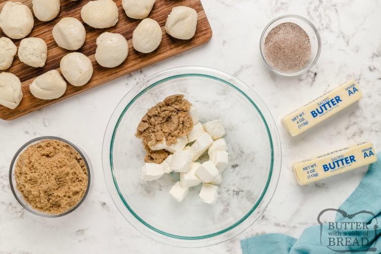 Ingredients in cream cheese stuffed cinnamon rolls