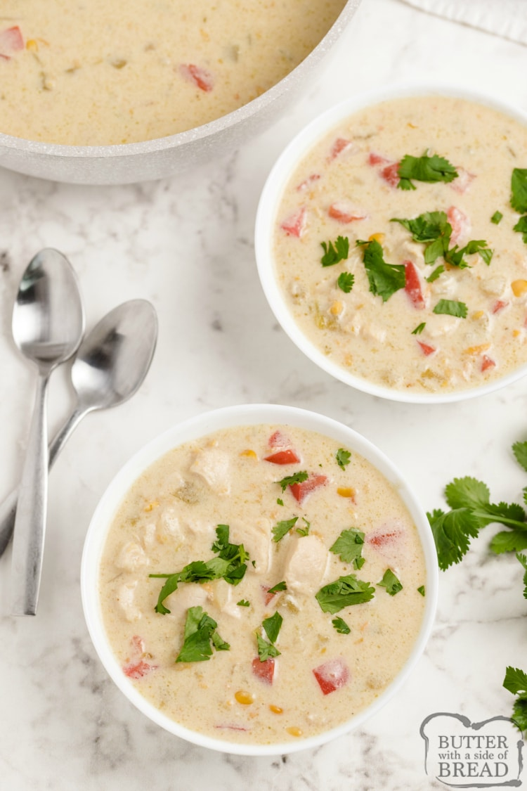 Chicken Corn Chowder made with cumin, tomatoes, corn and cheese