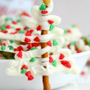 Easy White Christmas Tree Pretzel candy recipe