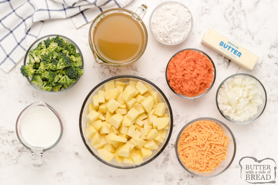 Ingredients in potato soup with broccoli, carrots and cheese